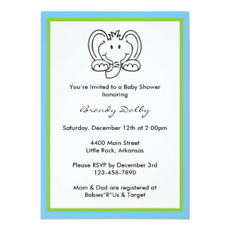 Elephant Themed Baby Shower Invitation