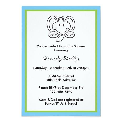 elephant themed baby shower invitation zazzle