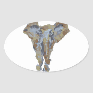Elephant Themed Design Oval Sticker