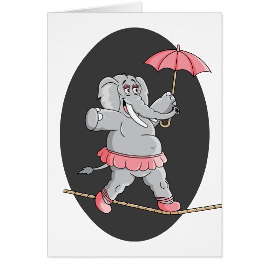 Elephant Tightrope Walker Card