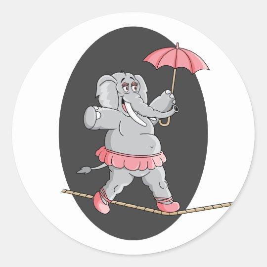 Elephant Tightrope Walker Classic Round Sticker