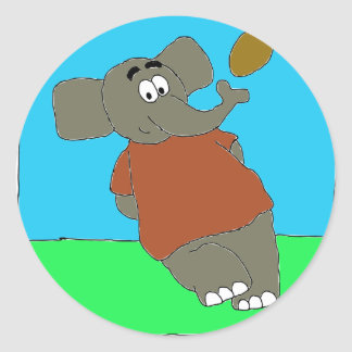 Elephant Touch By A Nose Classic Round Sticker