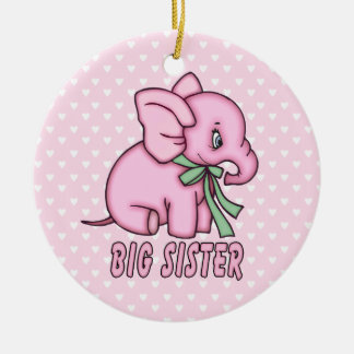 Elephant Toy Big Sister Double-Sided Ceramic Round Christmas Ornament