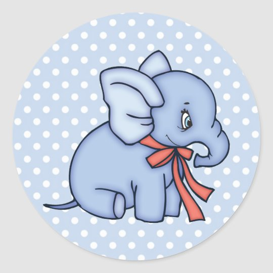 Elephant Toy Blue Classic Round Sticker