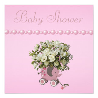 Elephant Toy, Flowers & Pearls Baby Shower Announcements