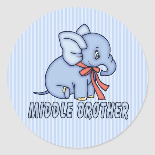 Elephant Toy Middle Brother Classic Round Sticker