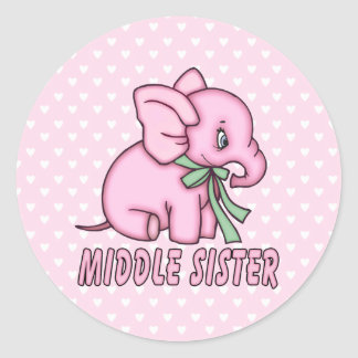 Elephant Toy Middle Sister Classic Round Sticker
