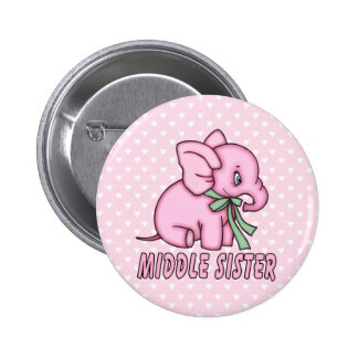 Elephant Toy Middle Sister Pinback Button