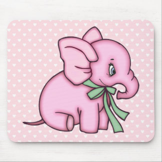 Elephant Toy Pink Mouse Pad