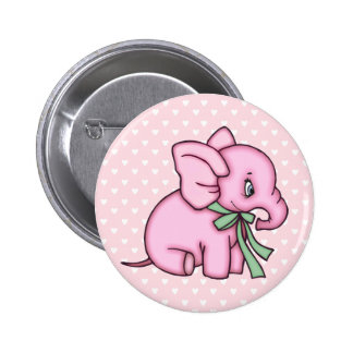 Elephant Toy Pink Pinback Button