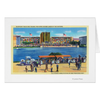 Elephant Train and Federal Bldg, CA Worlds Fair Greeting Cards