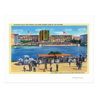 Elephant Train and Federal Bldg, CA Worlds Fair Postcards