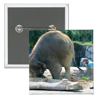 ELEPHANT TRAINING 2 INCH SQUARE BUTTON