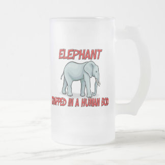 Elephant trapped in a human body 16 oz frosted glass beer mug