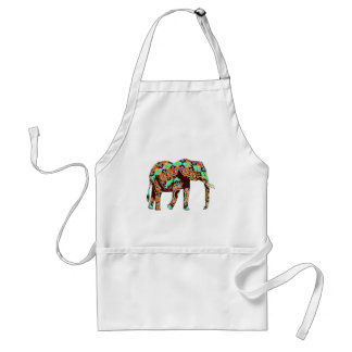 Elephant Tribal and Pop Fusion Watercolor Artwork Adult Apron