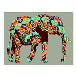 Elephant Tribal and Pop Fusion Watercolor Artwork Postcard