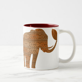 Elephant Tribal Art Design Two_tone Mugs