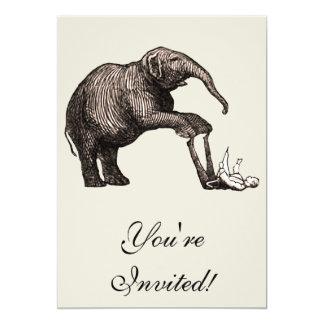 Elephant Tricks - Funny Circus Pachyderm 5x7 Paper Invitation Card