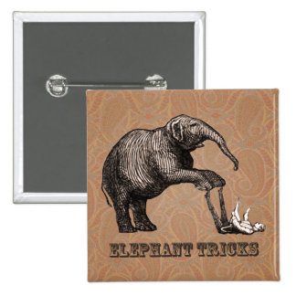 Elephant Tricks - Funny Circus Pachyderm Pinback Button