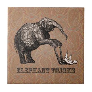 Elephant Tricks - Funny Circus Pachyderm Ceramic Tile
