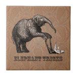 Elephant Tricks - Funny Circus Pachyderm Small Square Tile