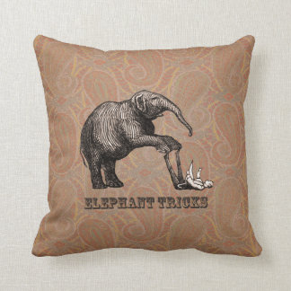 Elephant Tricks - Funny Circus Pachyderm Throw Pillow