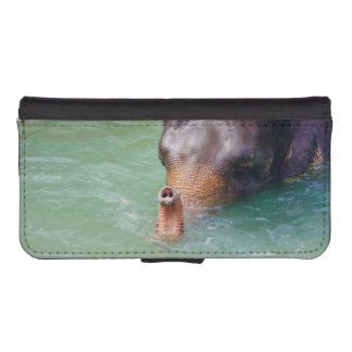 Elephant Trunk Up In Water, Animal Photography iPhone SE/5/5s Wallet Case