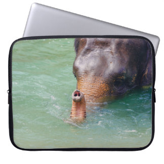 Elephant Trunk Up In Water, Animal Photography Laptop Sleeve