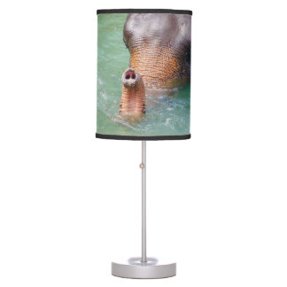 Elephant Trunk Up In Water, Animal Photography Table Lamp