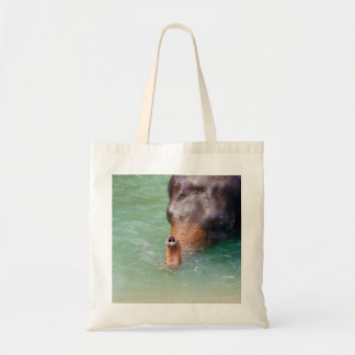 Elephant Trunk Up In Water, Animal Photography Tote Bag