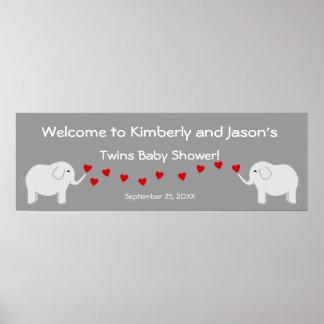 Elephant Twins Gender Neutral Baby Shower Banner Poster