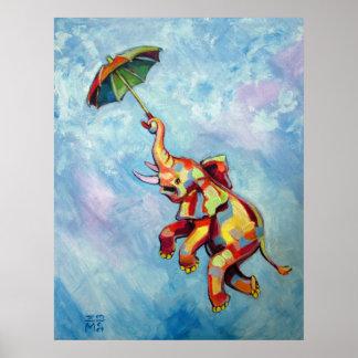 Elephant Umbrella Poster