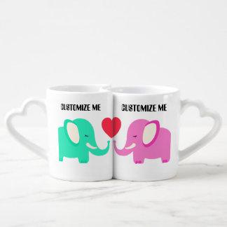 elephant valentine CUSTOMIZABLE lovers mugs