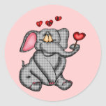 Elephant Valentine T-shirts and Gifts Classic Round Sticker