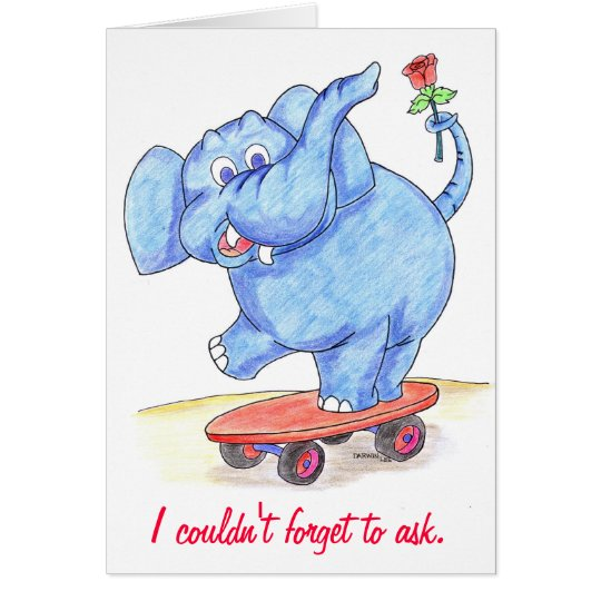 Elephant Valentines Card Will you be my Valentine – Elephant Valentines Card