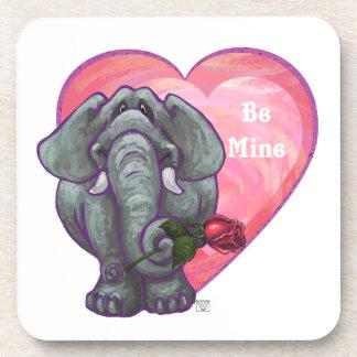 Elephant Valentine's Day Beverage Coaster