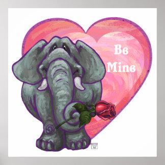 Elephant Valentine's Day Poster