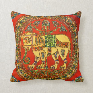 Elephant, Vintage Tile Look Throw Pillow