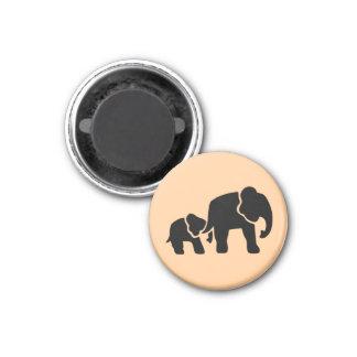 Elephant Vintage Wood Engraving 1 Inch Round Magnet