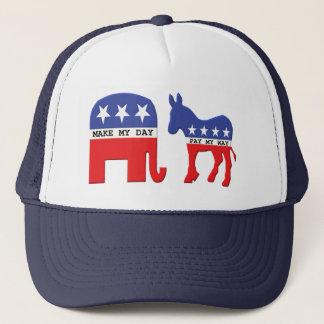 Elephant vs Donkey Funny Political Trucker Hat