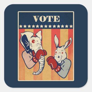 Elephant vs. Donkey Square Sticker