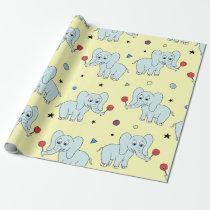 Elephant w/ lollipop | yellow kid birthday wrapping paper