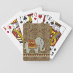 """Elephant Walk Monogram Cheetah ID390 Playing Cards<br><div class=""""desc"""">This whimsical design features an adorable elephant walking a diamond-patterned border. The elephant&#39;s blanket forms a place to hold your name or monogram. Design is warm orange and gold tones on a patterned cheetah skin background.</div>"""