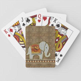 Elephant Walk Monogram Cheetah ID390 Playing Cards