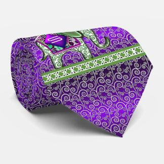 Elephant Walk Monogram Purple Swirls Neck Tie