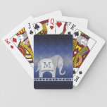 """Elephant Walk Monogram Silver/Blue ID390 Playing Cards<br><div class=""""desc"""">This whimsical design features an adorable elephant walking a diamond-patterned border. The elephant&#39;s blanket forms a place to hold your name or monogram. Design is silver on a blue,  textured-effect background.</div>"""