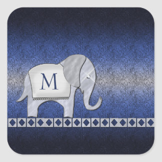 Elephant Walk Monogram Silver/Blue ID390 Square Sticker