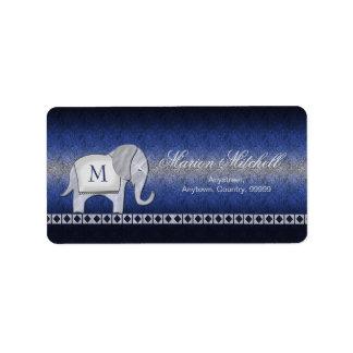 Elephant Walk Monogram Silver/Blue Label