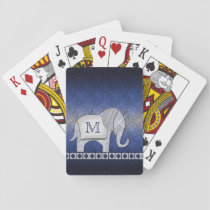 Elephant Walk Monogram Silver/Blue Playing Cards