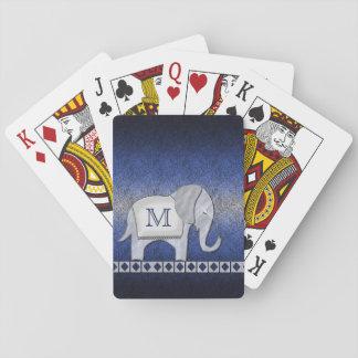 Elephant Walk Monogram Silver/Blue Playing Cards
